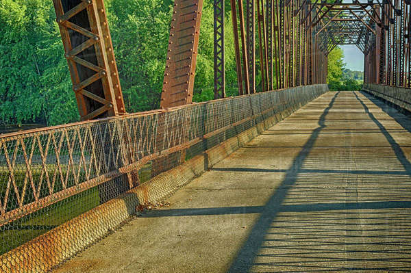 The old Davis Ferry Bridge spanning the Wabash River, Tippecanoe Township, Indiana Royalty-free stock photo