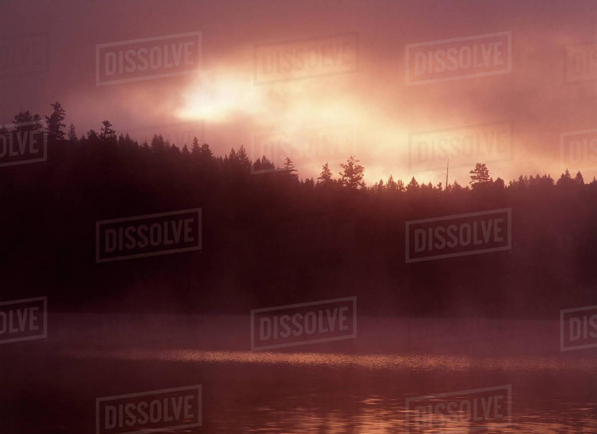 Canada, British Columbia, Clearwater, Dutch Lake in sunrise stock photo