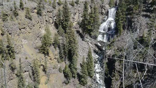 USA, Wyoming, Waterfall, Undine Falls, Yellowstone National Park Rights-managed stock video