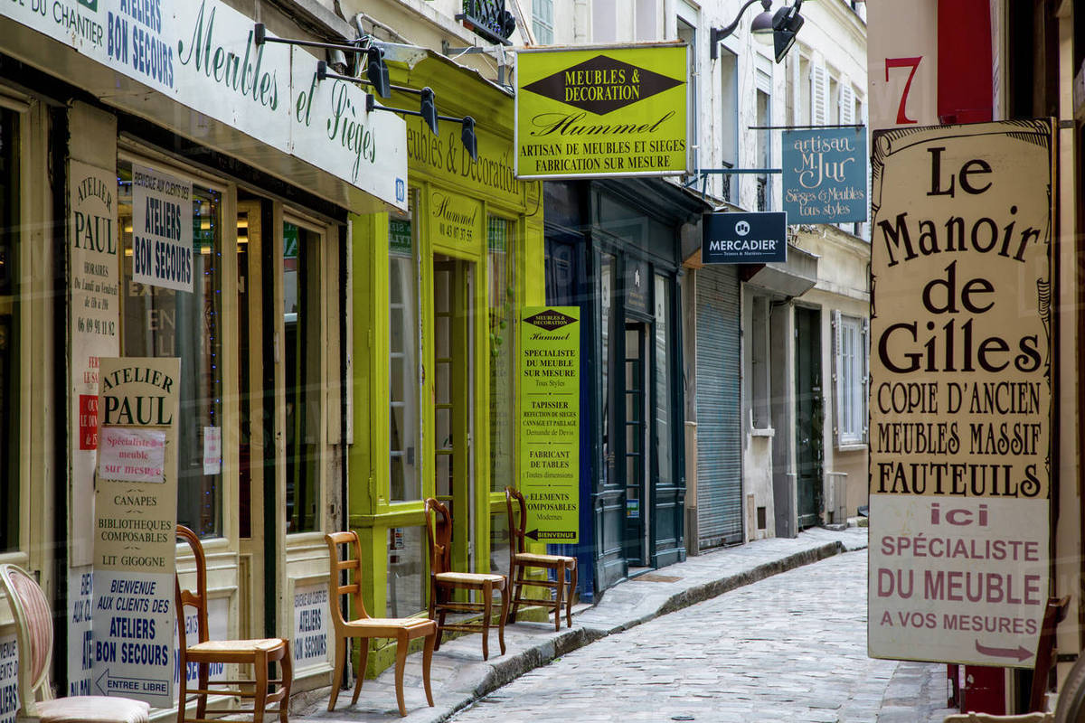 Furniture Company Signs Along Passage Du Chantier, Near Faubourg Saint  Antoine, Paris, France