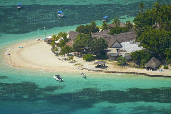 Castaway Island Resort, Castaway Island, Mamanuca Islands, Fiji, South Pacific, aerial Rights-managed stock photo