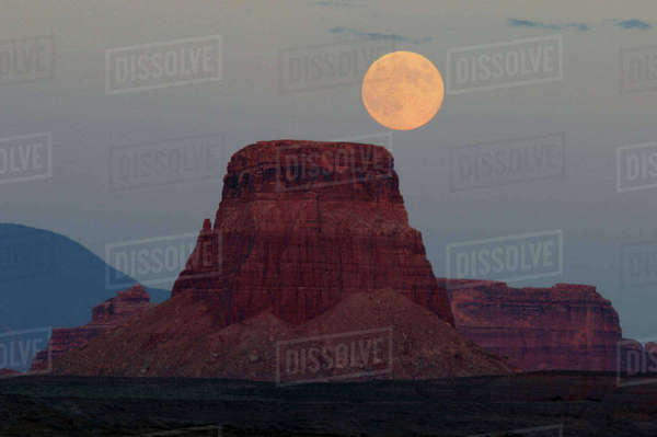 Harvest Moon rising over Tower Butte, Glen Canyon National Recreation Area, Page, Arizona, USA Rights-managed stock photo