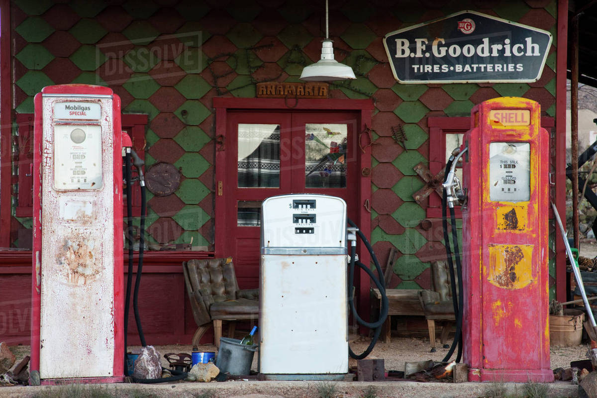 Usa Arizona Chloride Ghost Town Old Gas Station Dawn Stock Photo Dissolve