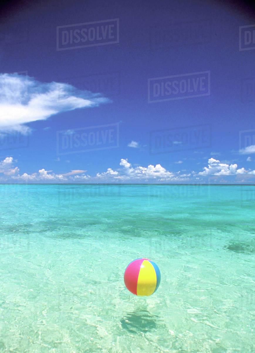 usa hawaiian islands bech ball in crystal clear tropical waters