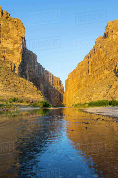 The Rio Grande River at Santa Elena Canyon on the Mexican border in Big Bend National Park, Texas, USA. Rights-managed stock photo