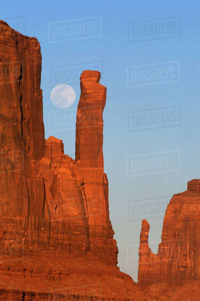 North America, U.S.A., Utah,  Monument Valley,  Moonrise at Mittens Rights-managed stock photo