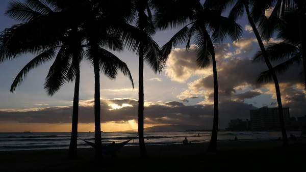 Sunset, Waikiki, Oahu, Hawaii Rights-managed stock video