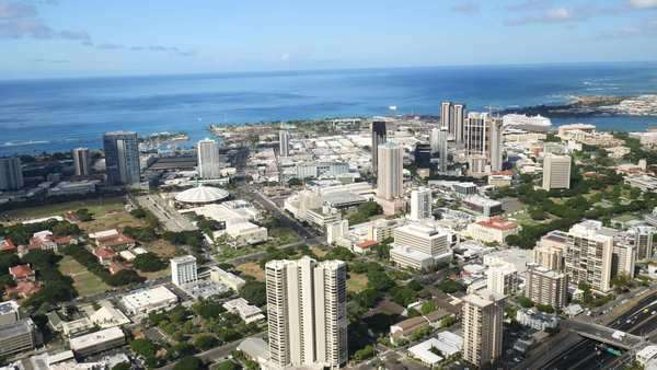 Aerial, Downtown, Honolulu, Hawaii Rights-managed stock video