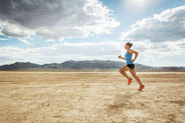 Runner training in desert, Las Vegas, Nevada, USA Royalty-free stock photo