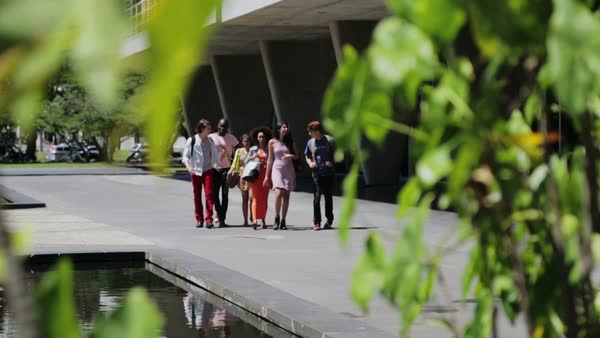Group of students walking outside of college in Flamengo district Royalty-free stock video