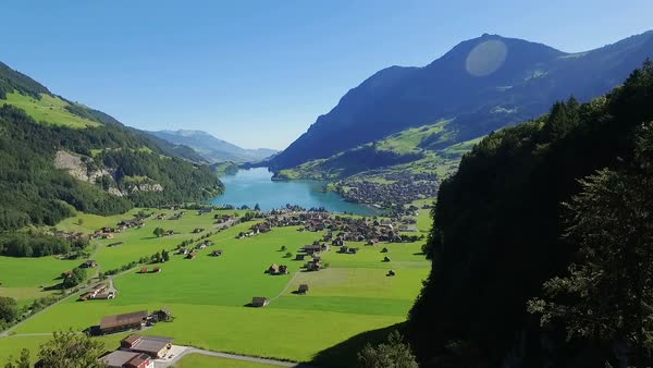 View to Lake Lungern from Bruenig Pass Royalty-free stock video