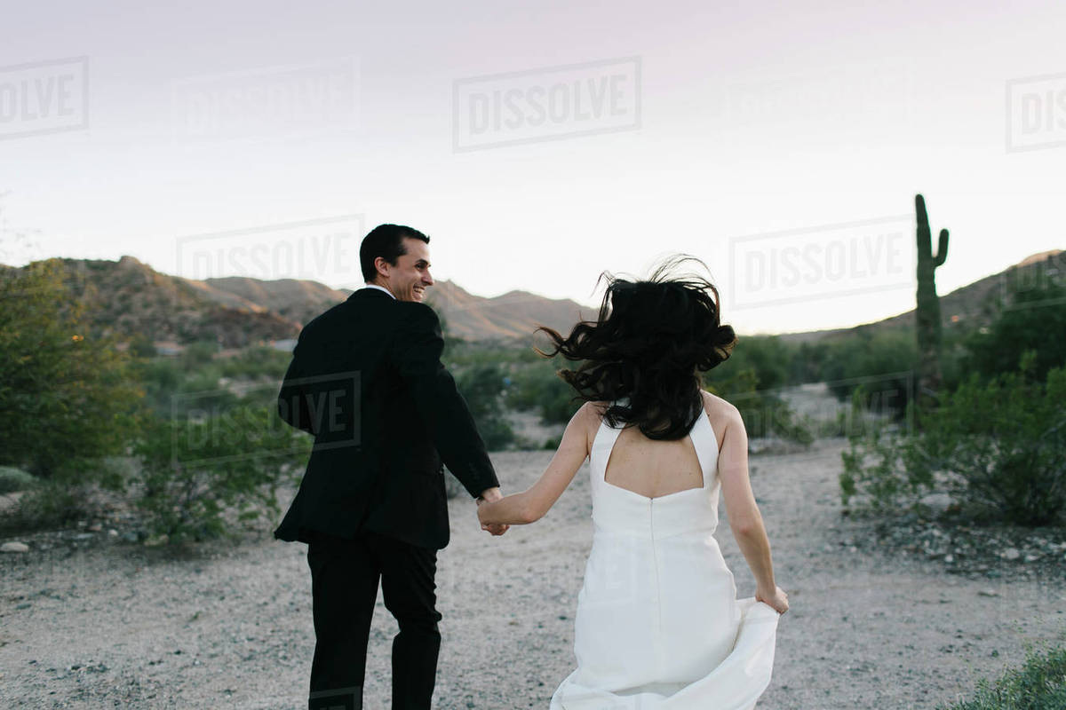 Strange Bride And Groom In Arid Landscape Holding Hands Running Rear View Stock Photo Download Free Architecture Designs Scobabritishbridgeorg