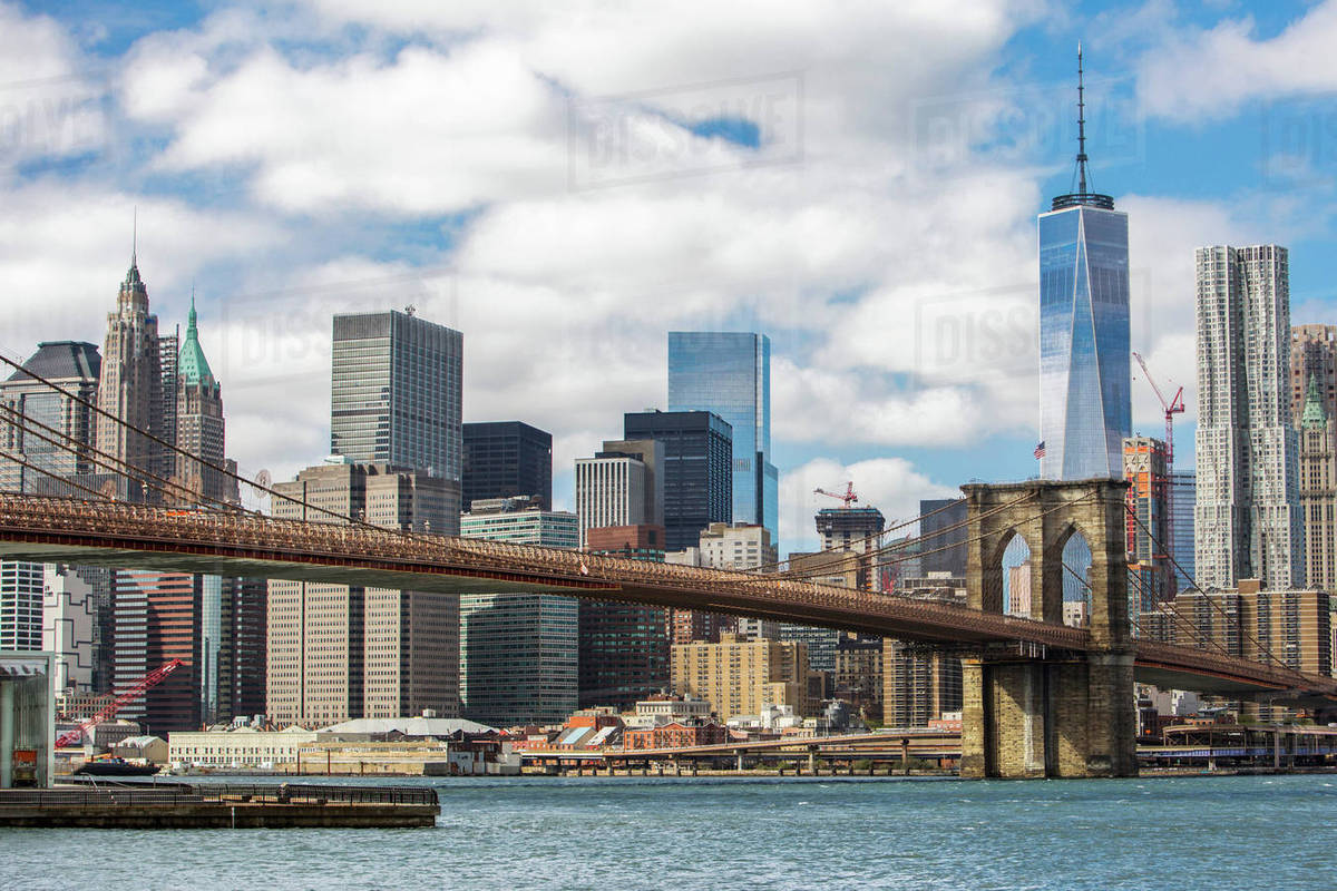 view of new york skyline with brooklyn bridge new york city new york usa stock photo dissolve. Black Bedroom Furniture Sets. Home Design Ideas