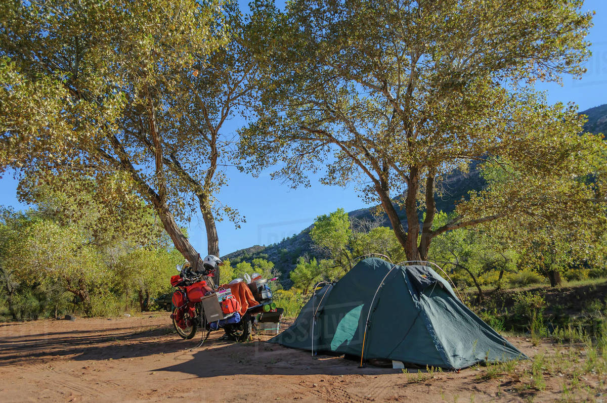 Touring Motorcycle And Tent Zion National Park Camping Utah Usa