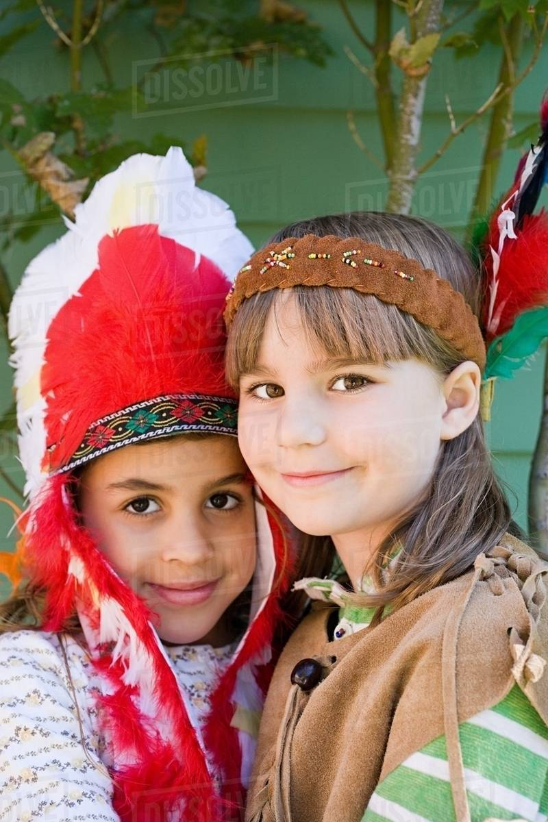 Two Girls In Native American Costumes Stock Photo Dissolve