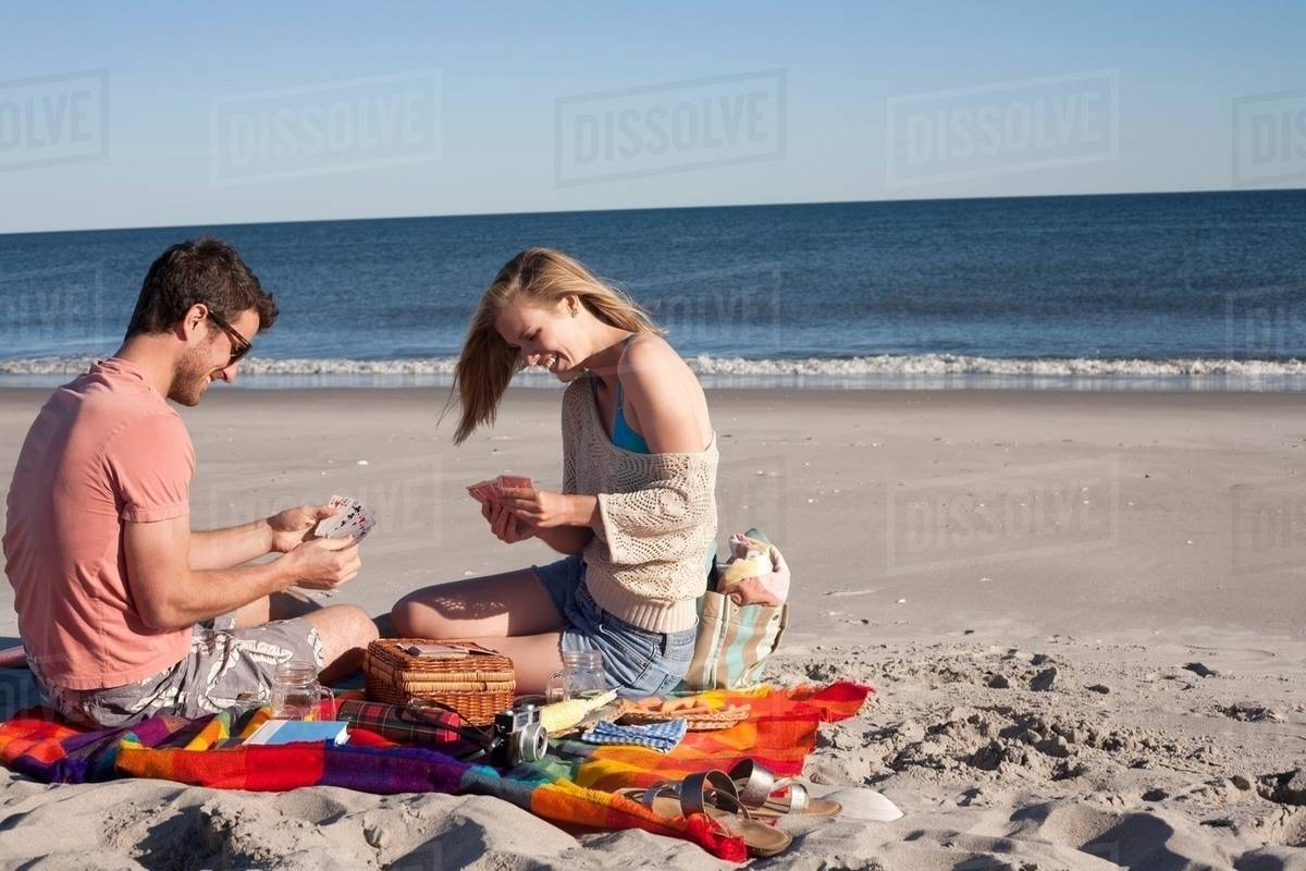 Playing Cards On Beach Breezy Point Queens New York Usa