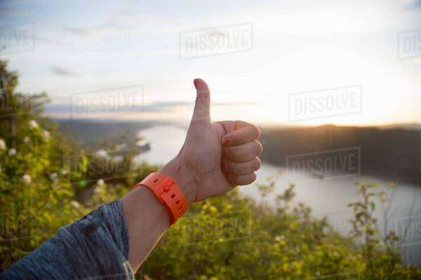 Thumbs up, Angel's Rest, Columbia River Gorge, Oregon, USA Royalty-free stock photo