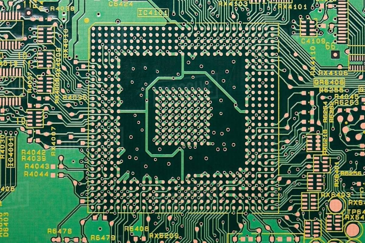 Close Up Of Circuit Board Stock Photo Dissolve Computer With Electronics Components Royalty Free