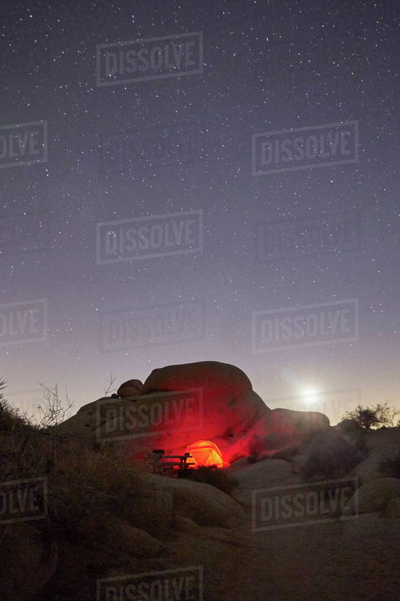Campsite At Joshua Tree National Park California Stock Photo