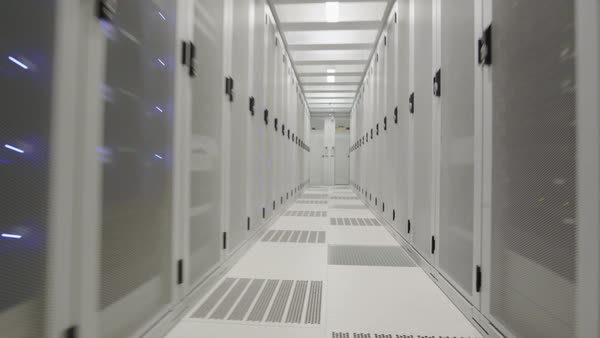 MS WS POV Aisle in data center / Amsterdam, North Holland, Netherlands Royalty-free stock video