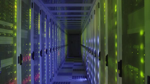 WS Colorfully illuminated aisle in data center / Amsterdam, North Holland, Netherlands Royalty-free stock video