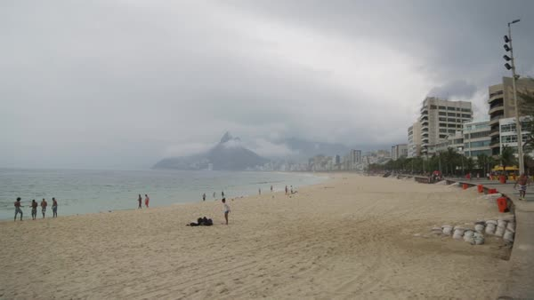 Wide shot of people at ipanema beach Royalty-free stock video