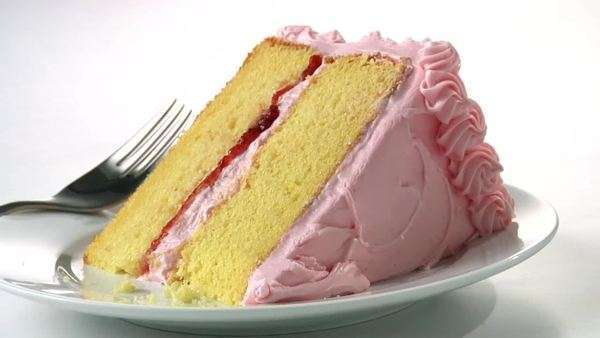 A piece of strawberry cream cake Royalty-free stock video