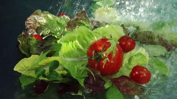 Washing mixed salad leaves and tomatoes Royalty-free stock video