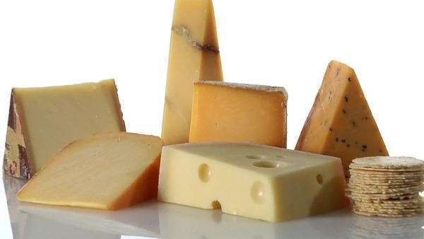 Various types of cheese with crackers Royalty-free stock video