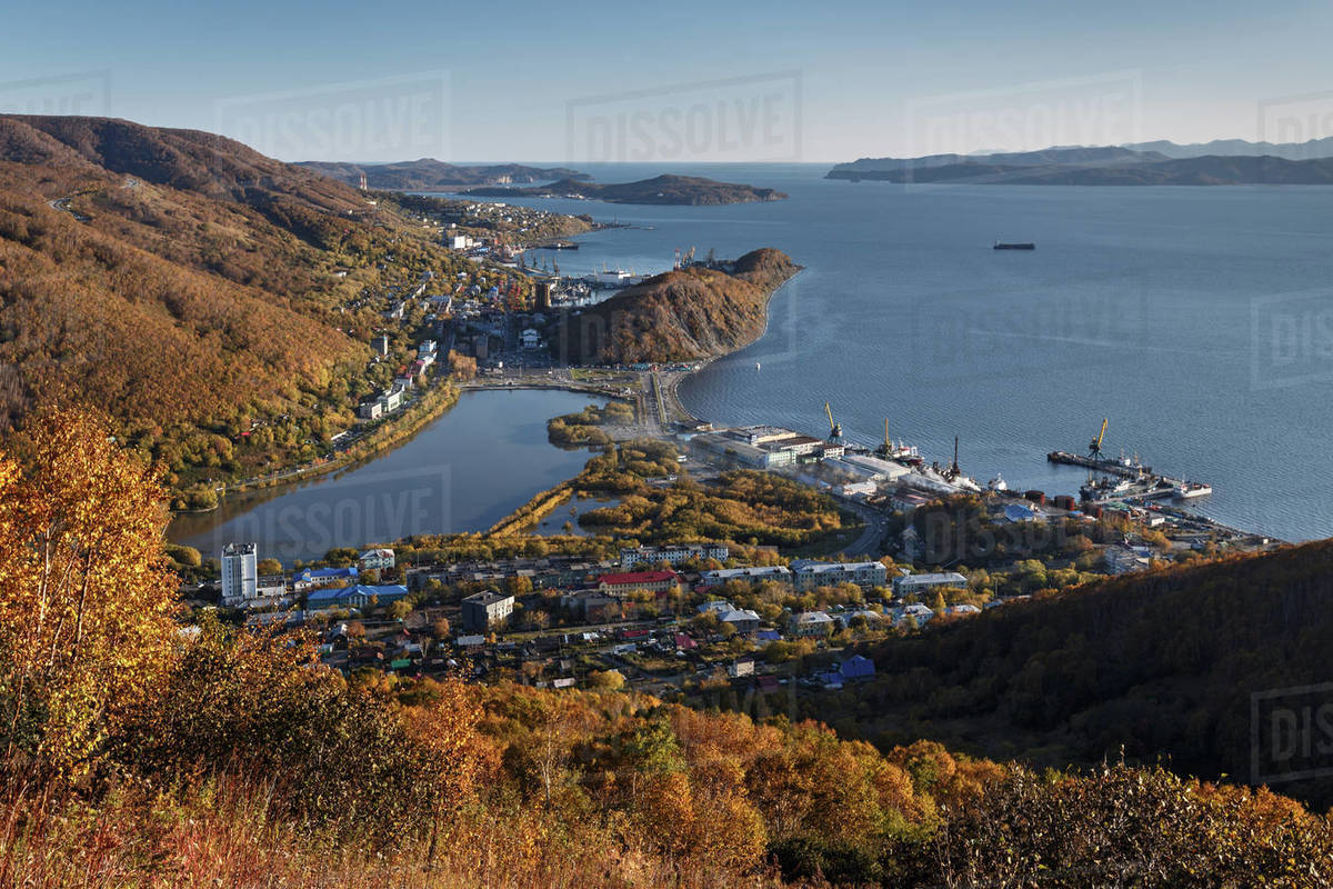 View of Petropavlovsk-Kamchatsky City, Avacha Bay and Pacific Ocean from the top in autumn. Russia, Far East, Kamchatka Peninsula. Royalty-free stock photo