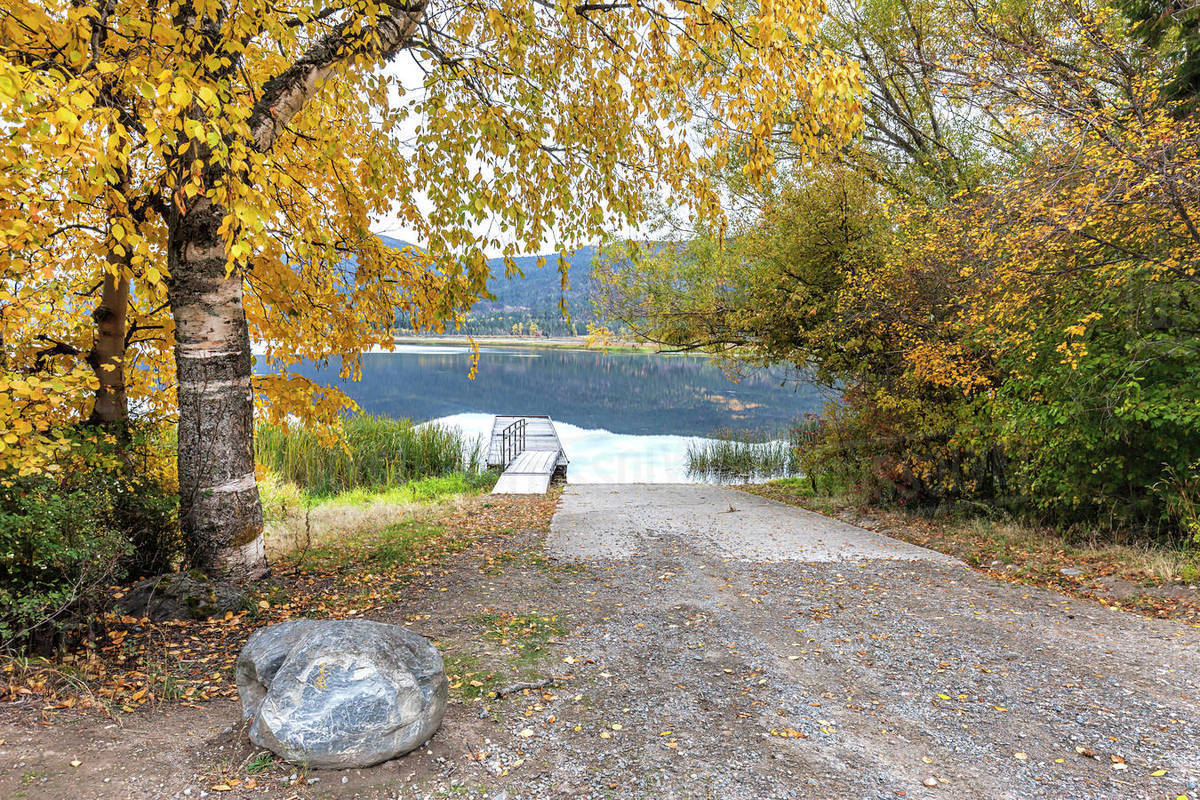 Trees with yellow leaves layer over the ramp to the dock on McArthur Lake in north Idaho Royalty-free stock photo