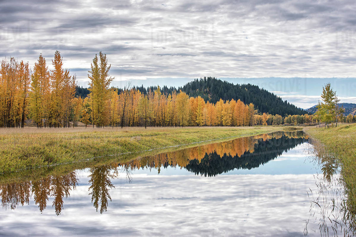Calm water of the canal reflects the clouds in the sky on an autumn day near Bonners Ferry, Idaho Royalty-free stock photo