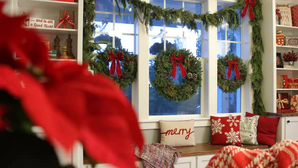 Interior shot of home decorated for Christmas Royalty-free stock video