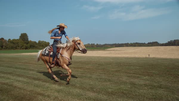 Woman horseback riding in slow motion Royalty-free stock video