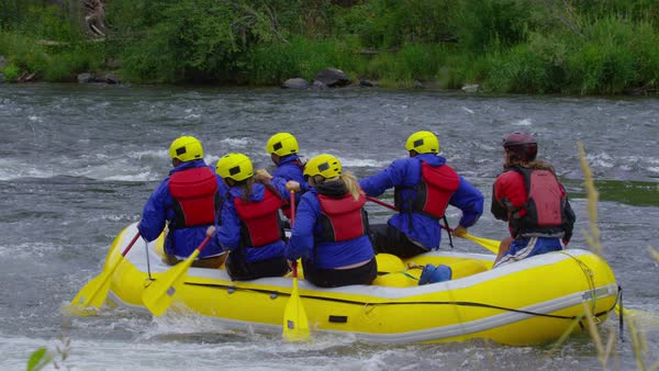 Group of people white water rafting Royalty-free stock video