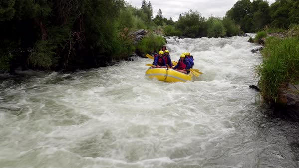 Aerial shot of people white water rafting on Rouge River, Oregon Royalty-free stock video