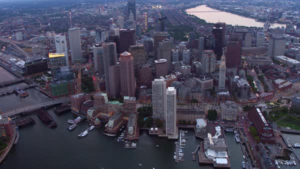 Aerial view of Boston, Massachusetts at dusk Royalty-free stock video