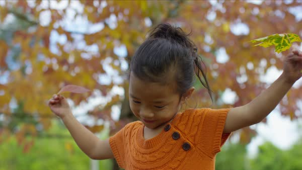 Young girl in Fall spinning with leaves in hands Royalty-free stock video