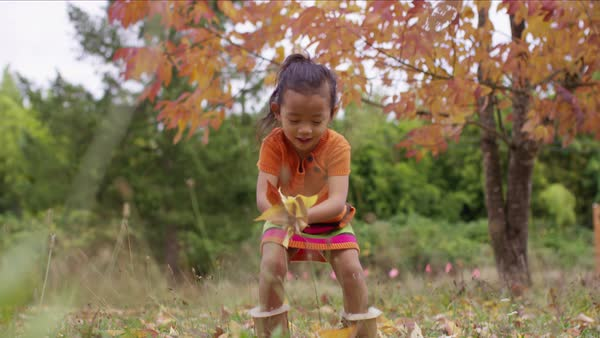 Young girl in Fall picking up and throwing leaves Royalty-free stock video