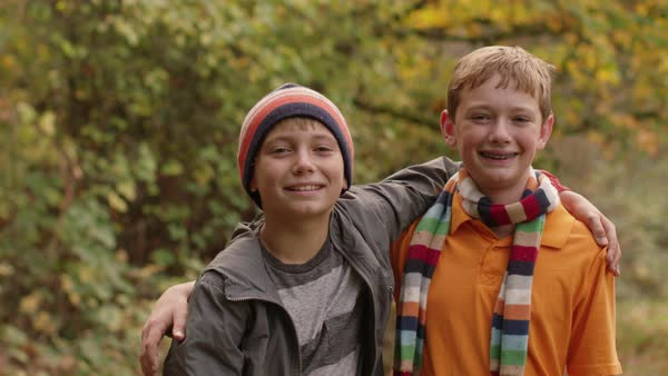 Portrait of two boys in Fall Royalty-free stock video