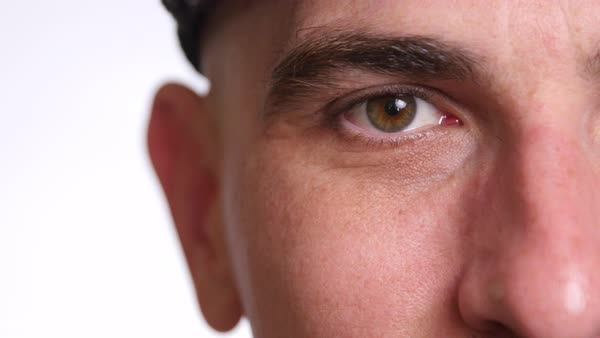 Extreme closeup of man's face and eye Royalty-free stock video