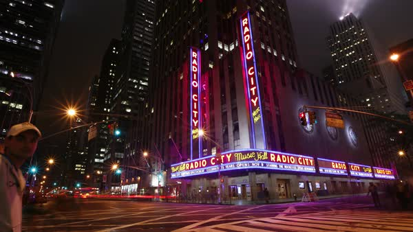 Timelapse shot of Radio City Music Hall in New York City, 2007 Royalty-free stock video