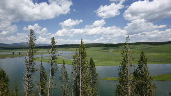 Timelapse shot of clouds over Yellowstone National Park Royalty-free stock video