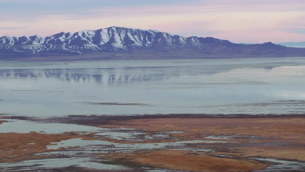 Aerial shot of Farmington Bay on the Great Salt Lake Royalty-free stock video
