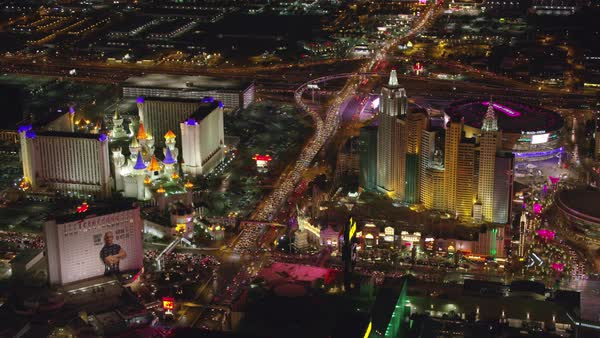 Aerial view of Las Vegas Strip at night.   Royalty-free stock video