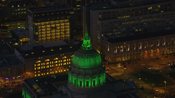 Aerial view of City Hall Dome at night Royalty-free stock video