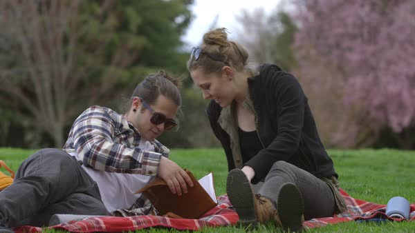 Two young people at park on blanket looking at book together Royalty-free stock video