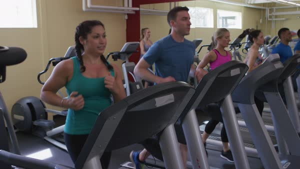 People at gym running on treadmills Royalty-free stock video