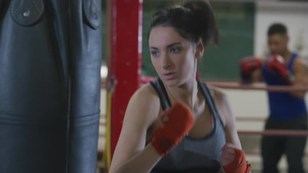 Woman working out at boxing gym Royalty-free stock video