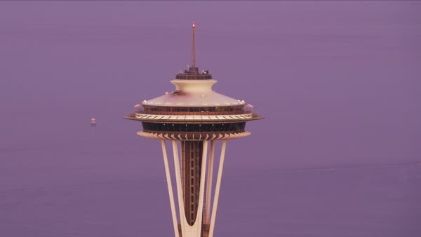 Close-up aerial view of Seattle Space Needle at dawn.   Royalty-free stock video